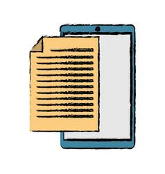 Drawing mobile phone document file paper digital vector
