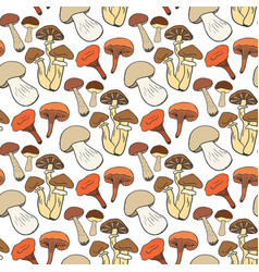 hand drawn mushrooms seamless pattern in color vector image vector image