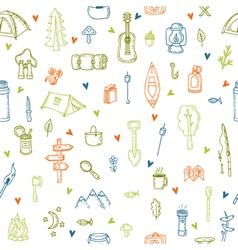I love camping Hand drawn hike seamless pattern vector image vector image