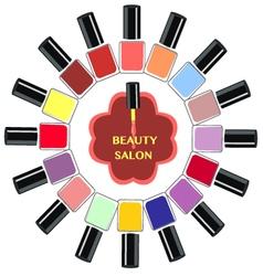 Set of colorful nail polish bottles nails vector