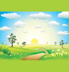 sunny meadow vector image vector image
