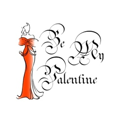 Vintage be my valentine greeting card vector image vector image