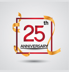 25 anniversary design with red color in square vector