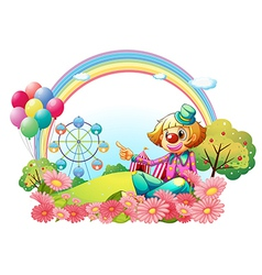 A clown in the carnival with a garden vector