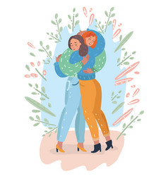adult mother and teenage daughter together vector image