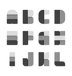 Alphabet set paper black colour style vector image