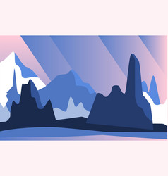 beautiful natural landscape with mountains at vector image