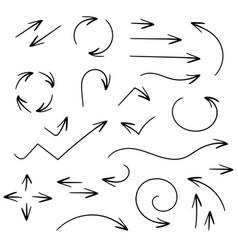 black set of arrows pen hand drawing vector image