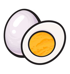 Boiled peeled chicken egg whole and cut in half vector