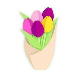 Bouquet of five paper cut tulip flowers in craft vector