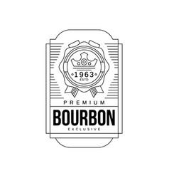 bourbon vintage label design premium strong drink vector image