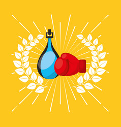 boxing sport emblem icon vector image