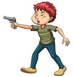 Boy holding a gun vector