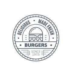 burgers badge design line art vector image