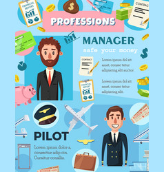 Business manager and aviation pilot professions vector