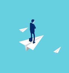 businessman stands on a flying paper plane vector image
