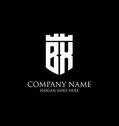 Bx initial shield logo design inspiration crown vector