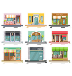 Cafe storefront flat set vector