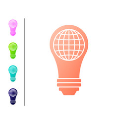 Coral light bulb with inside world globe icon vector