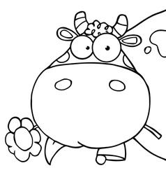 Cow grazing cartoon vector