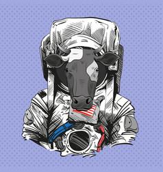 Cow in astronaut suit 2021 year hand drawn art vector