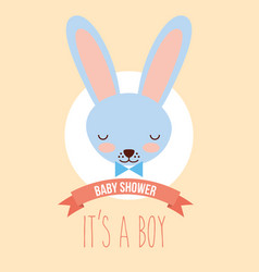 cute blue rabbit face its a boy invitation card vector image