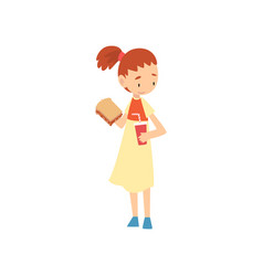 cute girl holding sandwich and paper cup soda vector image
