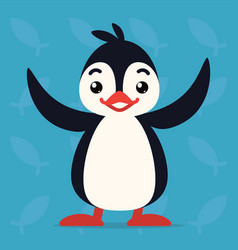 Cute penguin standing with raised wings vector