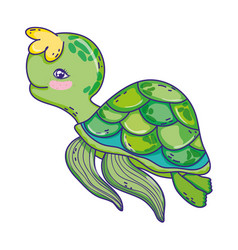 Cute turtle wild sea animal vector