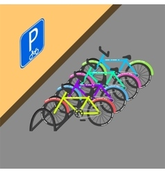Cycle parking with sign on the wall vector image