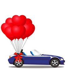 Dark blue modern opened cartoon cabriolet car vector