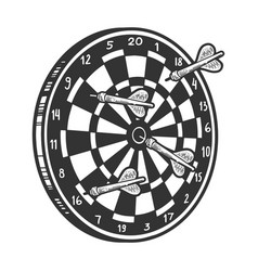 Darts in dartboard sketch engraving vector