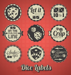 dice and craps labels vector image