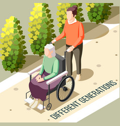 different generations isometric background vector image