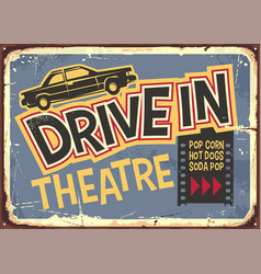 drive in theater vintage sign design vector image