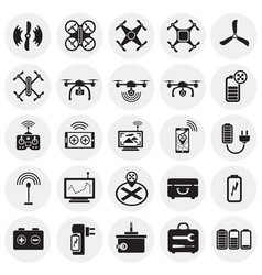Drone icons set on circles background for graphic vector