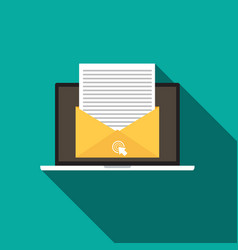 email marketing concept flat style icon with long vector image