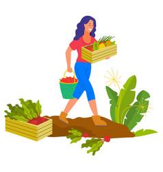 farming woman smiling harvesting farmer plantation vector image