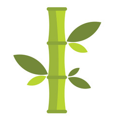 Flat cartoon green bamboo icon isolated on white vector