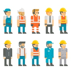 Flat design construction workers set vector image