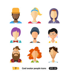 flat male and female avatars icons cool vector image