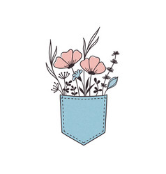 flowers in pocket vector image