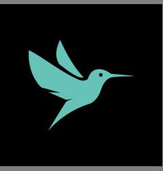 flying hummingbirds on black background logo vector image