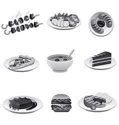 food icon set gray vector image