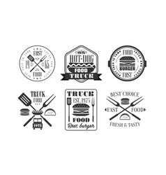 food truck retro logo templates set fresh and vector image