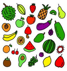 fruit doodle pattern vector image