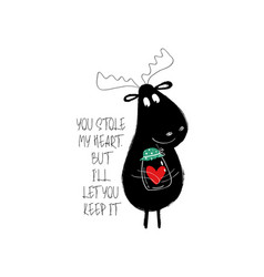 Funny moose holding jar with heart vector