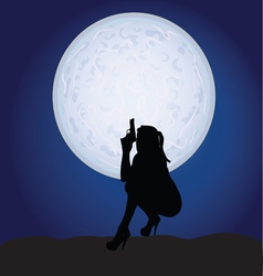 girl sexy with gun on moonlight vector image
