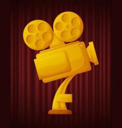 Golden trophy camera best movie award vector