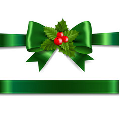 Green ribbon bow with holly berry white background vector